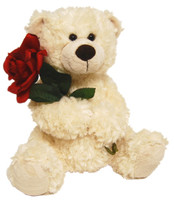 BEAR ROMEO WITH ROSE WHITE 25 CM