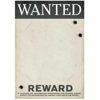 Gangster Wanted Sign (42cm x 30cm) Slotted to hold 20cm x 25cm Photo -