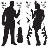 Cutout Props Gangster Includes Bullet holes, guns, guitar case, gangsters