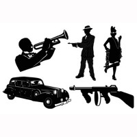 Silhouettes Gangster (51cm) Cardboard Printed 2 Sides