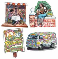 Cutouts 60's & 70's (41cm) Cardboard Printed 2 Sides - Pack of 4