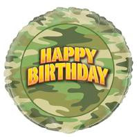 45cm Camo Foil Balloon (Self sealing balloon, Requiries Helium Inflation)