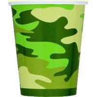 Cups Camo 270ml paper cups with camouflage print - Pack of 8