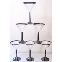 Plastic Martini Glasses with Silver Rim & Base  8 PCS