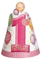 1st BALLOONS PINK 8 PARTY HATS