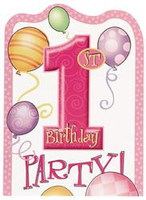 1st BALLOONS PINK 8 INVITATIONS