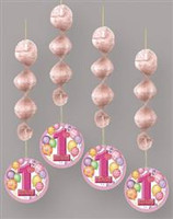 1st BALLOONS PINK 4 HANGING DECOS