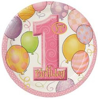 1st BALLOONS PINK 8 x 7inch PLATES