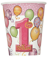1st BALLOONS PINK 8 x 9oz CUPS