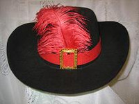 BLACK SPANISH HAT RED BAND AND FEATHER