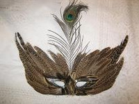 MASK FEATHERS BROWN