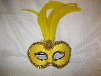 MASK GOLD WITH GOLD TRIM AND FEATHERS