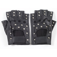 BLACK STUDDED FINGERLESS GLOVES
