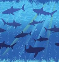 Shark Splash Plastic 54x108 Tablecover