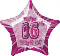 "20"" Pink Star 16th Birthday Balloon"