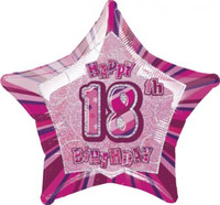 "20"" Pink Star 18th Birthday Balloon"