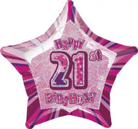 "20"" Pink Star 21st Birthday Balloon - Requires Helium"