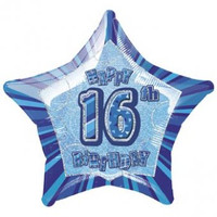 "20"" Blue Star 16th Birthday Balloon"