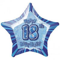 "20"" Blue Glitz 18th Birthday Star Foil Balloon"