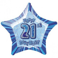 "20"" Blue Glitz 21st Birthday Star Foil Balloon"