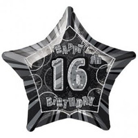 Black Glitz 16th Birthday Star Shaped Foil Balloon