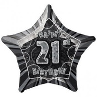 Black Glitz 21st Birthday Star Shaped Foil Balloon