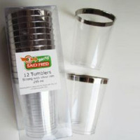 Plastic Tumbler Silver Look (300ml) With Silver Rim - Pack of 12