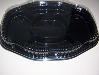 """Oblong Black 5 compartment party platter measuring 18""""(45cm) x 13""""(33cm) with tray height 2""""(5cm) and lid 2""""(5cm)."""