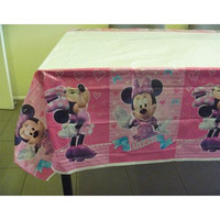 Minnie Mouse Bow-tique Tablecover, Plastic, Measures 1.8 Metres Long x 1.3 Metres Wide.