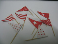 Cupcake Topper Flags Red 25 Pk