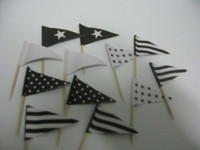 Cupcake Topper Flags Black 25 Pk