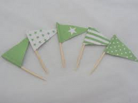 Cupcake Topper Flags Green 25 Pk