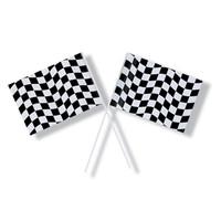 Black & White Checkered Plastic Small Flag - Each