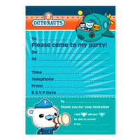 "Octonauts Invitations (Measures 19.5cm High x 14.5cm Wide) Includes details for ""Dear"", 'Date"", ""Time"", ""Place"" and ""RSVP"" - Pack of 20"