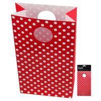 Party Bag Red White Polka Dots