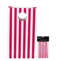 Pink stripe Party Bag Pk 6