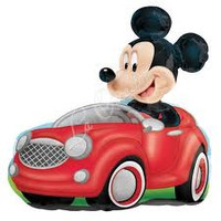 "Mickey in car SuperShape 28"" x 28"" Foil Balloon"