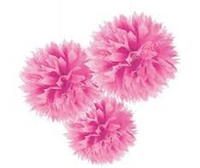Decorative Puff 40 cm Pastel Pink Pack 2
