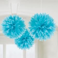 Decorative Puffs 40 cm Light Blue Pack 2