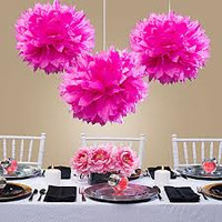 Decorative Puffs 40 cm Hot Pink Pack 2