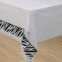 Animal Print Zebra Tablecover, (135cm x 270cm) Plastic -