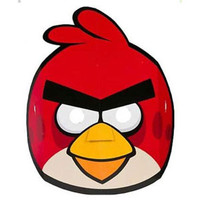 Masks Angry Birds, Cardboard (Approx 18cm Wide) - Pack of 8