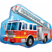 Shape Firetruck with Ladder (91cm wide) Foil Balloon (Self sealing balloon, requires helium inflation) - Each