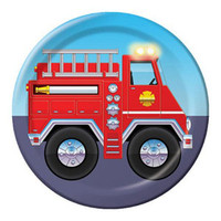 Firefighter Luncheon Plates, (18cm) Paper - Pack of 8
