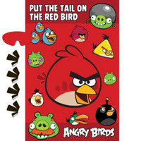 "Game Angry Birds ""Put the tail on the red bird"" Includes 1 Poster, 8 Stickers and 1 Paper Blindfold -"
