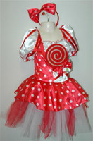 Lolly Pop Candy Cane Girls Costumes see sizes