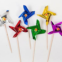 Picks Pinwheels (8cm) Assorted colours. - Pack of 12
