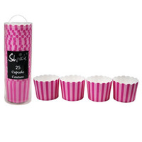 25 PK HOT PINK STRIPE PAPER BAKING CUPS