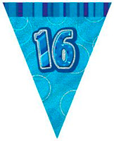 GLITZ BLUE FLAG BANNER  BLUE 16 TH BIRTHDAY