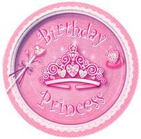 "BIRTHDAY PRINCESS 8 x 18cm (7"") PAPER PLATES"